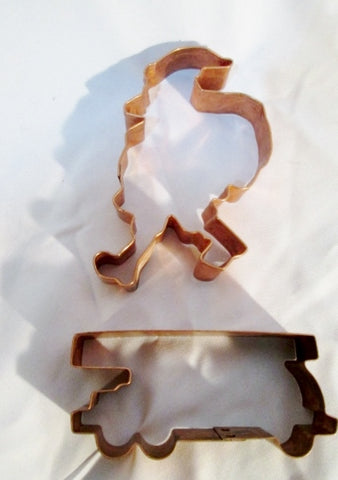 Set SANTA CLAUS TRAIN COPPER Cookie Cutter Mold Baking Pastry Chef CHRISTMAS Holiday
