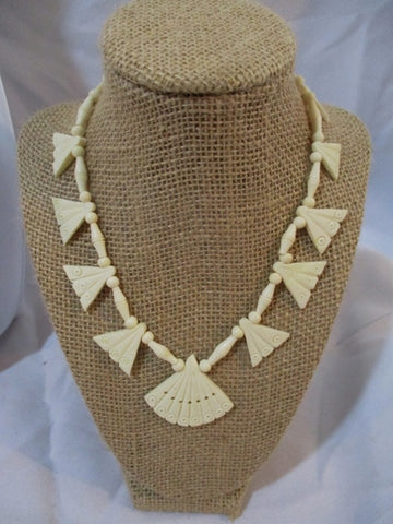 "16"" Hand Carved CHICKEN BONE FAN Beaded NECKLACE Charm Ethnic Jewelry"