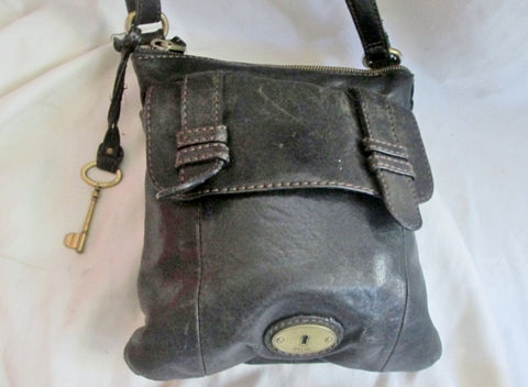 Genuine FOSSIL LONG LIVE VINTAGE leather handbag hobo Swing pack bag BLACK Key