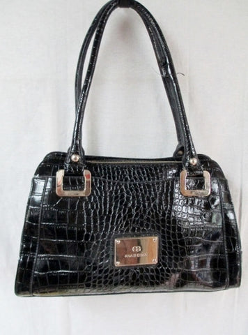 ANAIS GVANI NEW YORK CROC Embossed Leather TOTE Satchel Shopper BLACK