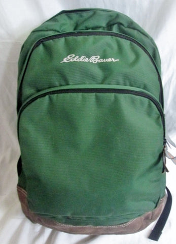 EDDIE BAUER Suede Leather BACKPACK Shoulder Rucksack Travel BAG GREEN BROWN