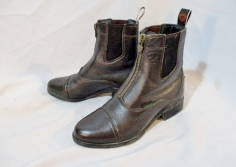 Womens 4LR ARIAT LEATHER Zip Up BOOT Bootie Urban Street 6 BROWN