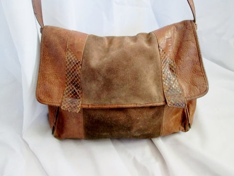 MARIANELLI ITALY Snakeskin Python Leather bag Flap BROWN Crossbody Suede Reptile