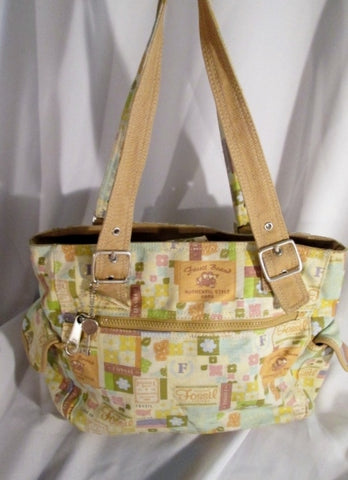 FOSSIL canvas signature satchel shoulder hobo saddle bag tote carryall shopper BEIGE MULTI key