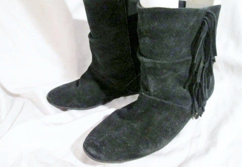 0c84fb71442 Womens STEVE MADDEN ALLIEE Suede Fringe Ankle Boots Booties BLACK 8.5  Leather Hippie Boho