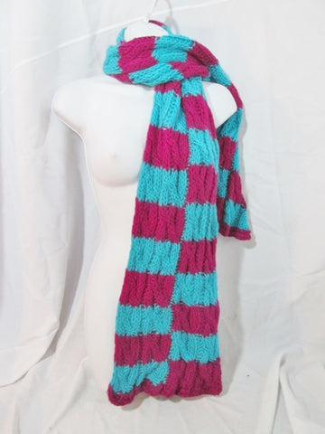 Handmade Knit NECK SCARF Warmer Wrap FUSCHIA BERRY PINK AQUA BLUE