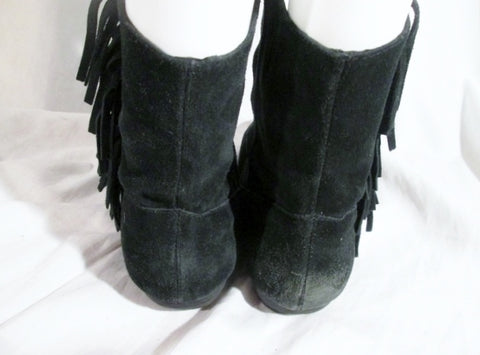 f2d8ea1802b ... Womens STEVE MADDEN ALLIEE Suede Fringe Ankle Boots Booties BLACK 8.5  Leather Hippie Boho ...