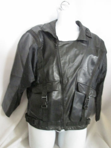 Mens STEAMPUNK SKYDIVING Parachute Style jacket coat BLACK L POCKETS Industrial leather