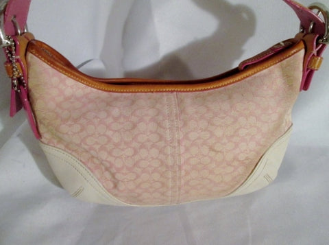 COACH 6351 SOHO Jacquard Hobo Handbag Satchel Baguette PINK WHITE ECRU Leather