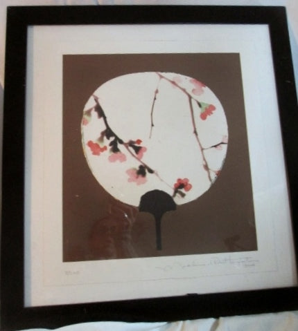 "22"" Signed 2005 LITHOGRAPH Art Print FLORAL FAN ASIAN Home Design BROWN FRAMED"