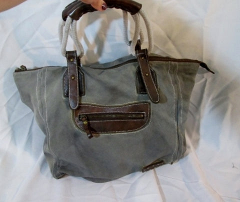 BED STU Canvas LEATHER Tote Bag Purse Carryall Beach Book Pockets GREEN BROWN