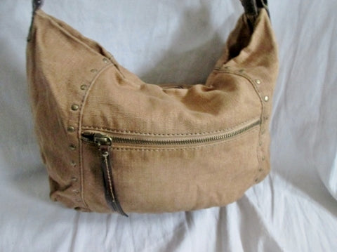 4c2c8e728d9f ... FOSSIL canvas messenger satchel shoulder hobo saddle bag crossbody  BROWN Stud ...