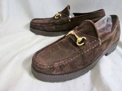 Womens DAVID AARON Suede Moccasins Leather Shoe 6.5 BROWN HORSEBIT Loafer Slip on