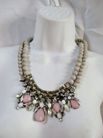 NEW DB RHINESTONE GRAY BEAD Necklace Statement Chunky Bib NWT PINK