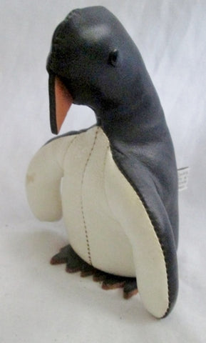 "Vtg SANDY VOHR LEATHER ZOO Mini 5.25"" PENGUIN Scuplture BLACK WHITE BIRD"