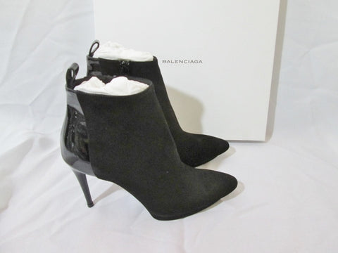 NEW NIB BALENCIAGA SUEDE PATENT Leather Ankle BOOT Bootie 36.5 6 BLACK Womens
