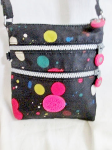 KIPLING Vegan Shoulder Bag Crossbody Swingpack Purse BLACK POLKA DOT