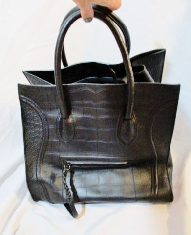 CELINE PARIS ITALY Leather SQUARE LUGGAGE SHOPPER Tote Bag BLACK Croc