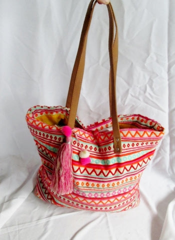 Embroidered OR HIPPY Tote Bag Satchel Shopper PINK Ethnic Fringe Tassel ZIGZAG