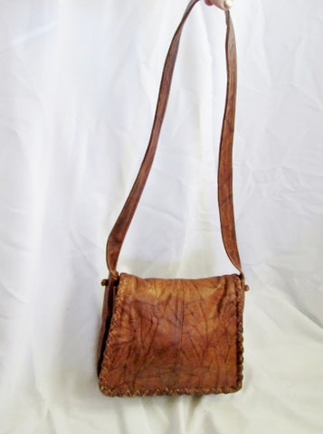 WILSONS LEATHER Hobo Handbag Flap Crossbody Purse Shoulder Bag BROWN Saddle Stitch