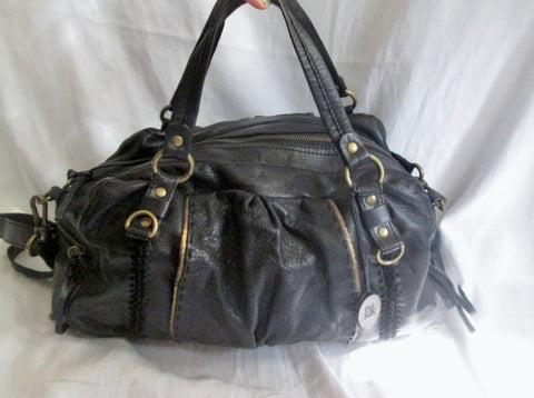 THE SAK Leather Shoulder Bag Tote Handbag Satchel Bowler BLACK Stitched Medical Bag