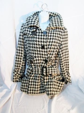 Womens AMERICAN RAG TRENCH COAT Jacket HERRINGBONE M Black White Coat