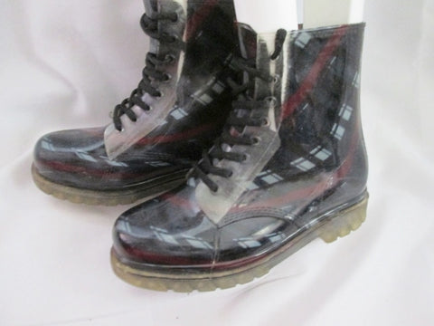 Womens HENRY FERRERA Ankle Rainboot Combat BOOT PLAID BLACK 8 RED GRAY
