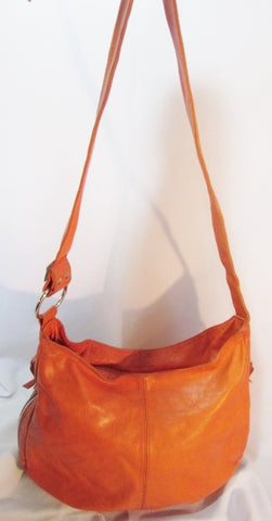 BORSE IN PELLE ITALY Leather Shoulder BAG Hobo slouch ORANGE MELON CANTALOUPE