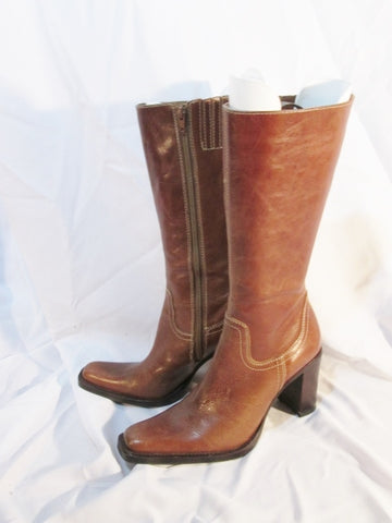 Womens STEVE MADDEN SNAP high heel stitch leather BOOT BROWN 8.5 Gogo
