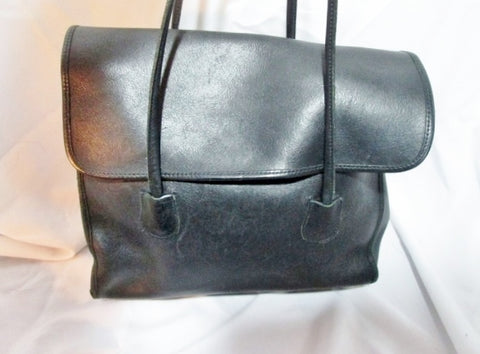 GEORGETOWN LEATHER DESIGN Thick Satchel Shoulder Tote BAG Purse BLACK