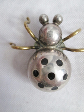 Signed TAXCO MEXICO 925 STERLING SILVER BROOCH PIN LADYBUG INSECT LADYBIRD