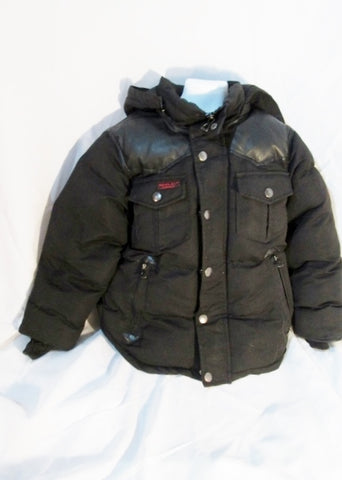 Youth Boys J. JOE WHISTLER & CO. PUFFER Hooded JACKET Coat Parka BLACK S 6