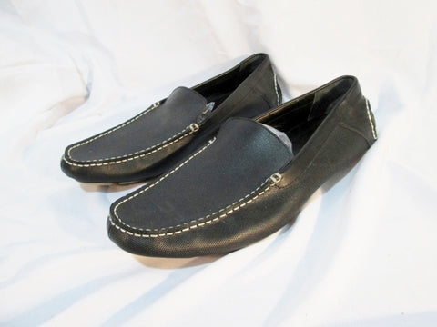 Mens CALVIN KLEIN Miguel Tumbled-Leather Slip-On Loafer Driving Shoe 16 BLACK Moccasin
