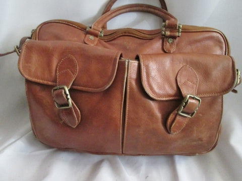 MADE IN COLOMBIA full genuine leather carryall shoulder bag attache briefcase BROWN work