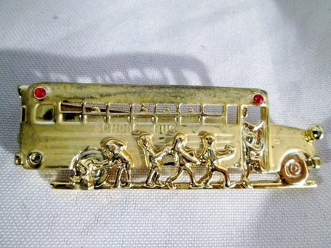 SCHOOL BUS Transportation CHILDREN DOG GOLD RED Brooch Pin TEACHER GIFT Jewelry