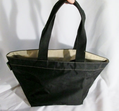 HERVE CHAPELIER FRANCE Classic Two Tone Tote Bag Handbag Purse Black Beige BAG Nylon