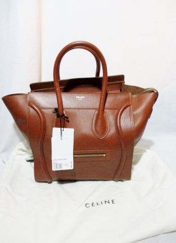 NEW CELINE PARIS MINI LUGGAGE CARAMEL BROWN Leather Tote Bag NWT