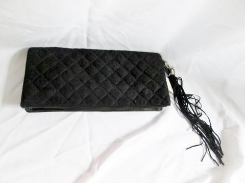 NEW NWT VICTORIA'S SECRET Quilted Wristlet Clutch Evening Bag BLACK Purse Fringe Tassel