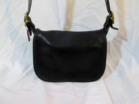 Vintage COACH 9951 PATRICIA'S LEGACY Leather FLAP Bag Crossbody BLACK Purse USA