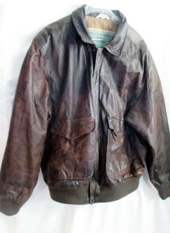MENS AEROPOSTALE Pebbled Leather FLIGHT Jacket Coat Aviator BROWN 44 XL FLIGHT