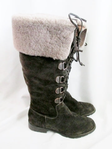 Womens SOFFT SUEDE SHEARLING Mukluk Sherpa Boots Leather 10 BROWN Foldover