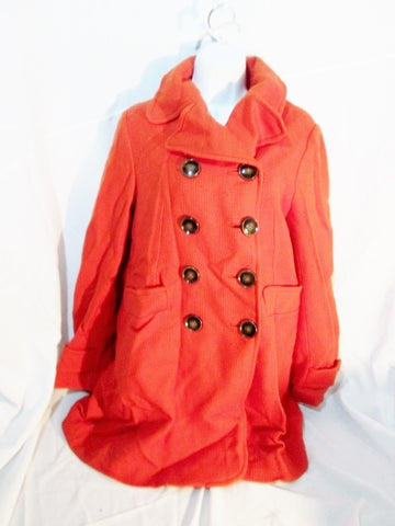 Womens LENER FABRIQUE DE MANTEAUX TRENCH COAT Jacket ORANGE 10 / 40 Wool