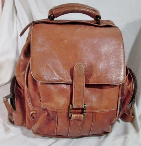 The Sharper Image COLOMBIA Leather BACKPACK TOTE Rucksack Travel BAG BROWN