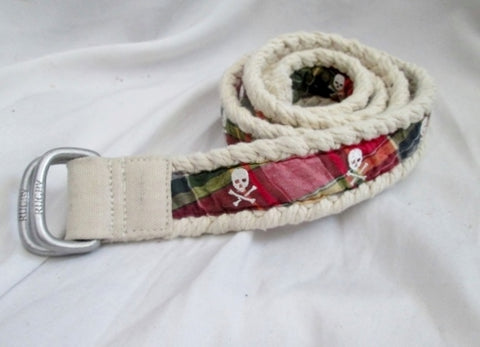 Womens RUGBY Vegan Rope SKULL SKELETON Plaid BELT M Red White Blue