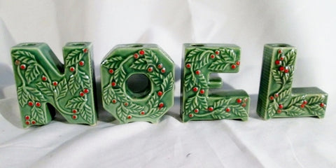 Vintage 4 Pc LIPPER MANN Japan NOEL Candle Holder Holly Berry Ceramic Green XMAS
