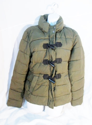 Womens GAP WINTER WARMTH Puffer Jacket Coat Ski OLIVE GREEN S Parka TOGGLE Zip