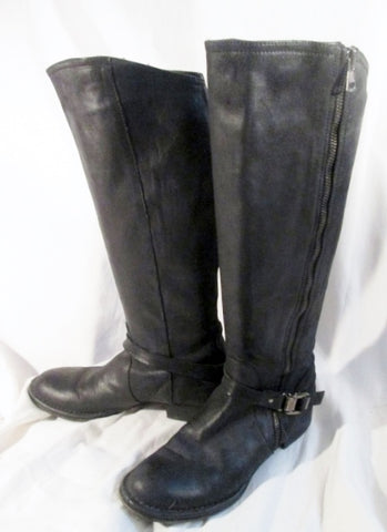 Womens ALBERTO FERMANI ITALY Glove Leather Sexy Riding Moto BOOTS Black 6.5 Rocker