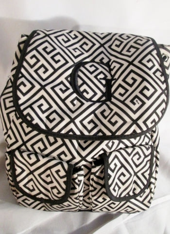 "NEW INITIALS INC. ""G"" ZIGZAG Shoulder Rucksack Travel School Book BAG BLACK WHITE Geometric"