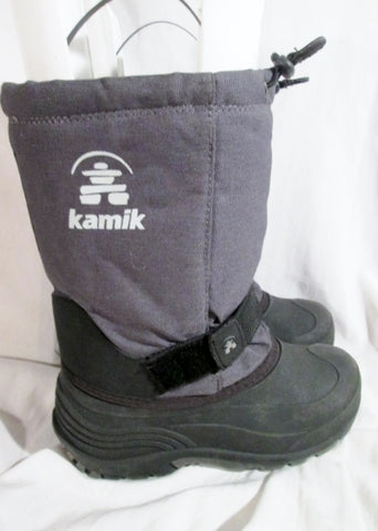 Boys Girls KAMIK Waterproof Rain Snow Boots Winter GRAY BLACK 3 Childrens Youth