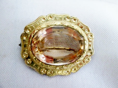 Vintage Antique GOLD OVAL SMOKY TOPAZ GLASS BROOCH PIN Jewelry Flapper Art Deco Nouveau
